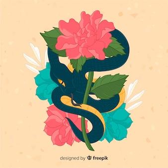 Cobra desenhada de mão com fundo de flores coloridas