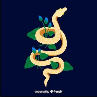 Cobra desenhada de mão com fundo de flores