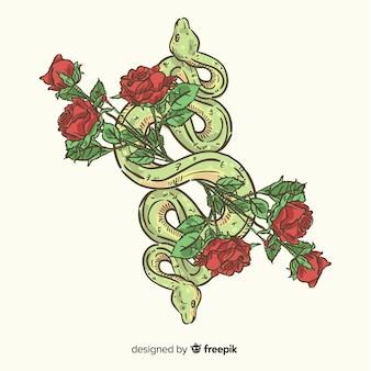 Cobra desenhada de mão com fundo de rosas