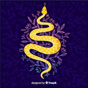 Cobra desenhada de mão com fundo escuro de flores