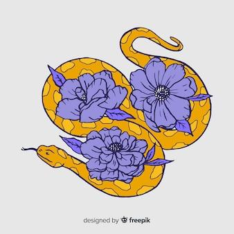 Cobra desenhada de mão com ilustração de flores
