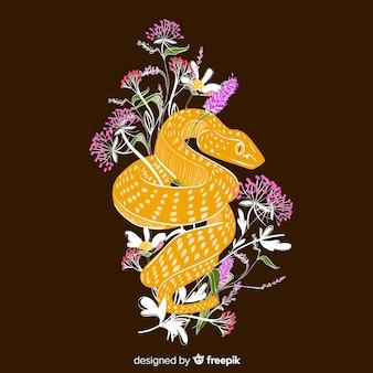 Cobra desenhada de mão escura com fundo de flores