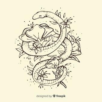 Cobra desenhada de mão, rodeada por flores