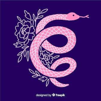 Cobra desenhada mão silvando com fundo de flores
