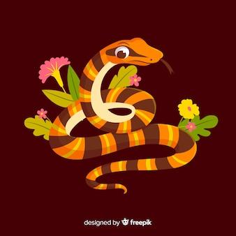 Cobra dos desenhos animados com fundo de flores