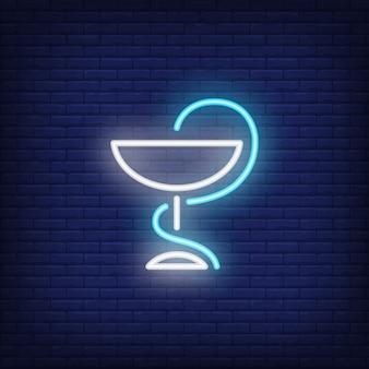 Cobra, e, tigela, farmácia, símbolo, sinal néon