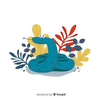 Cobra engraçado de mão desenhada com fundo de flores