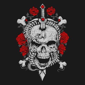 Cobra esqueleto e caveira com espada