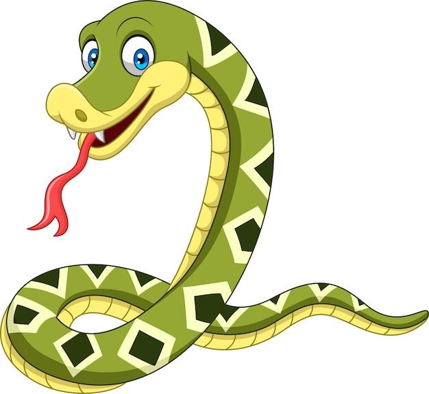Cobra feliz dos desenhos animados, isolada no fundo branco