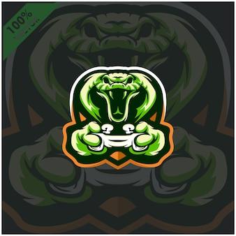 Cobra gamer segurando o console de videogame joystick. design de logotipo mascote para a equipe esport.