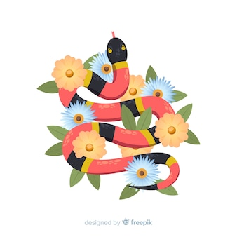 Cobra listrada com fundo de flores
