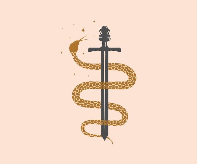 Cobra mágica mística envolvendo o desenho de espadas com estrelas da lua e padrões florais