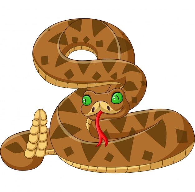 Cobra marrom dos desenhos animados isolada