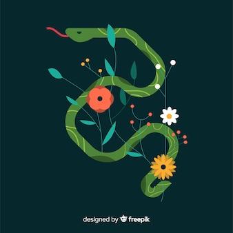Cobra plana com fundo de flores
