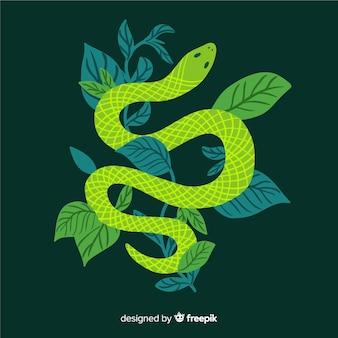 Cobra plana de vista de trop com fundo de folhas