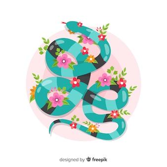 Cobra plana de vista superior com fundo de flores