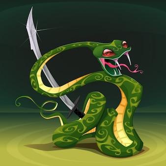 Cobra venenosa com ilustração em vetor de sabre dos desenhos animados