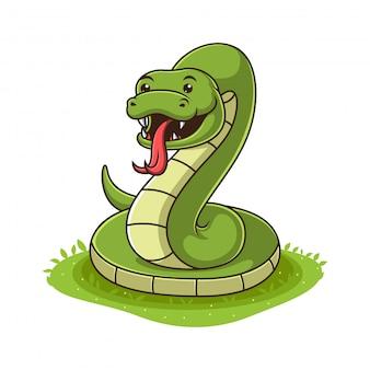Cobra verde dos desenhos animados sobre fundo branco