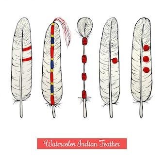 Cobrança, de, aquarela, nativo americano, penas