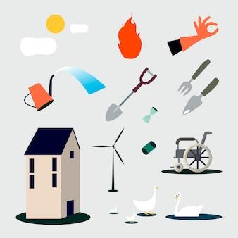 Cobrança, de, jardinagem, ferramentas, ilustração