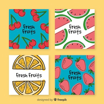 Cobrança, de, mão, desenhado, fruta, cartões