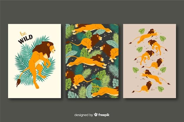 Cobrança, de, mão, desenhado, leão, cartões