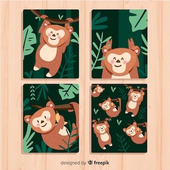 Cobrança, de, mão, desenhado, macaco, cartões