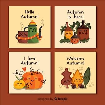 Cobrança, de, mão, desenhado, outono, cartões