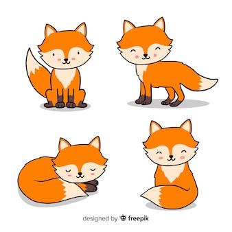 Cobrança, de, mão, desenhado, raposas