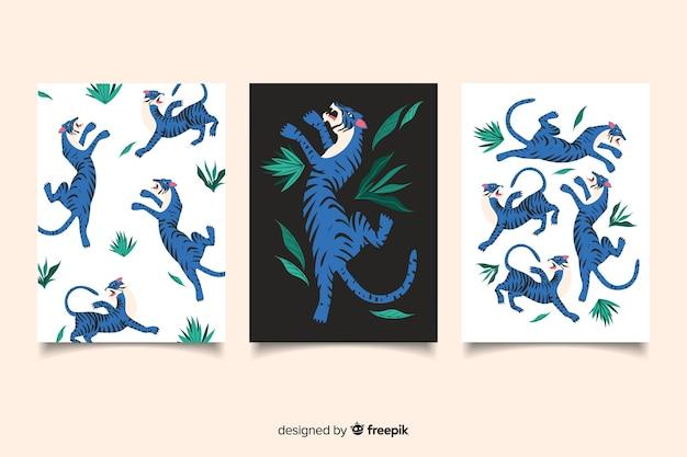 Cobrança, de, mão, desenhado, tigre, cartões