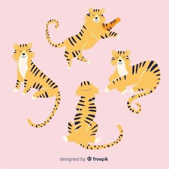 Cobrança, de, mão, desenhado, tigres