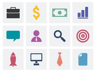 Cobrança, de, negócio, ícones, ilustração