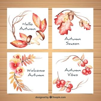 Cobrança, de, outono, aquarela, cartões