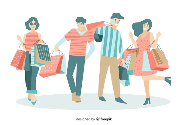 Cobrança, de, pessoas, carregar, bolsas para compras