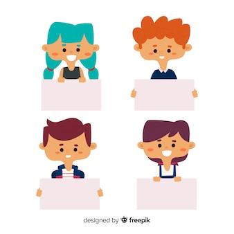 Cobrança, de, sorrindo, crianças, segurando, limpo, cartazes