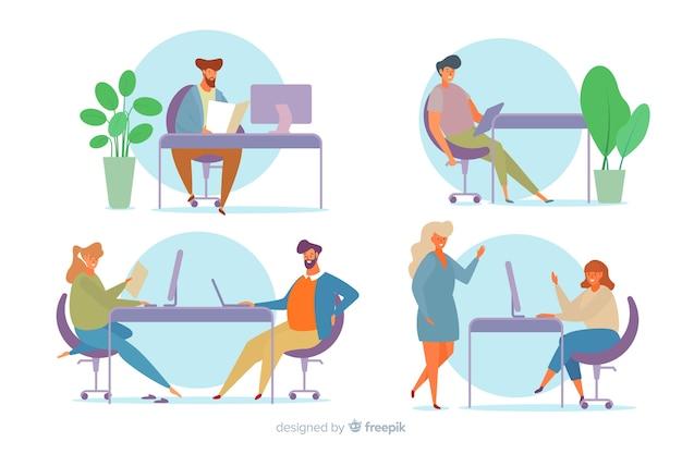 Cobrança, de, trabalhadores escritório, sentando, em, escrivaninhas