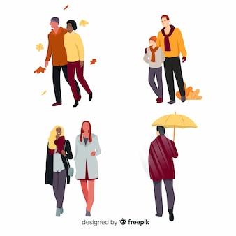 Cobrança, pessoas, andar, outono