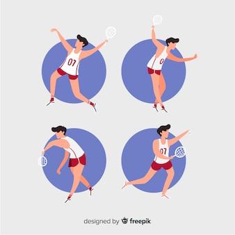 Cobrança, pessoas, tocando, badminton