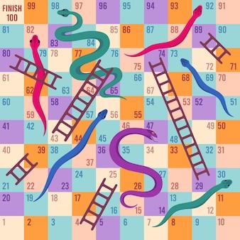 Cobras e escadas. jogo de tabuleiro de dados para crianças. mapa de quebra-cabeça de escalada para atividades de brincadeira de crianças. modelo de vetor dos desenhos animados do jogo de tabuleiro de viagem divertido. ilustração de jogo infantil, jogo de tabuleiro de lazer