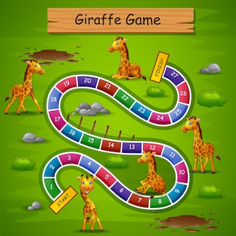 Cobras e escadas jogo girafa tema