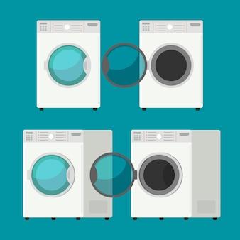 Cobrir a máquina de lavar roupa isolada equipamento de lavar roupas fundo branco