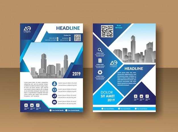 Cobrir o folheto de relatório anual de design ou folheto em a4 com formas geométricas azuis