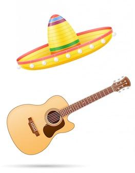 Cocar mexicano nacional de sombrero e ilustração vetorial de guitarra