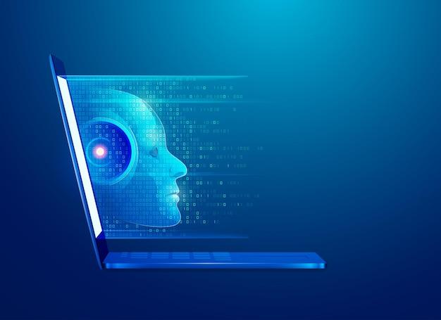 Cocept de aprendizado de máquina ou tecnologia de inteligência artificial
