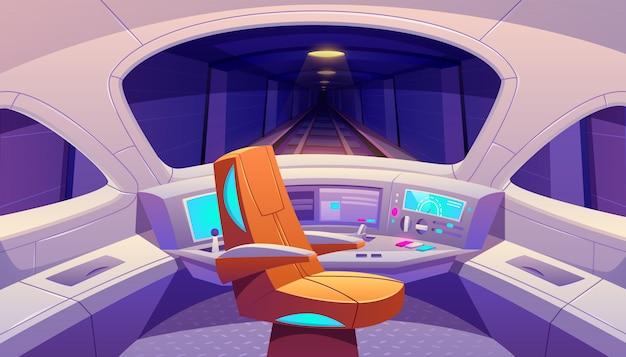 Cockpit de trem com painel de controle e poltrona