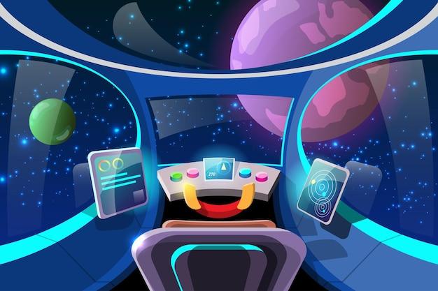 Cockpit para controlar os sistemas internos da espaçonave e seus sistemas de propulsão.