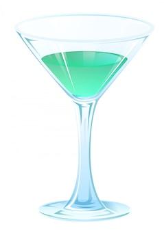 Cocktail azul da bebida no cálice de vidro na haste. bebida forte de álcool