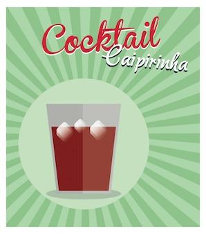 Cocktail caipirinha vintage background