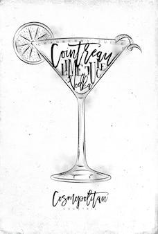 Cocktail cosmopolita com letras
