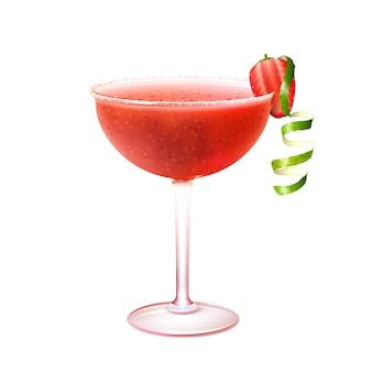 Cocktail daiquiri de morango realista